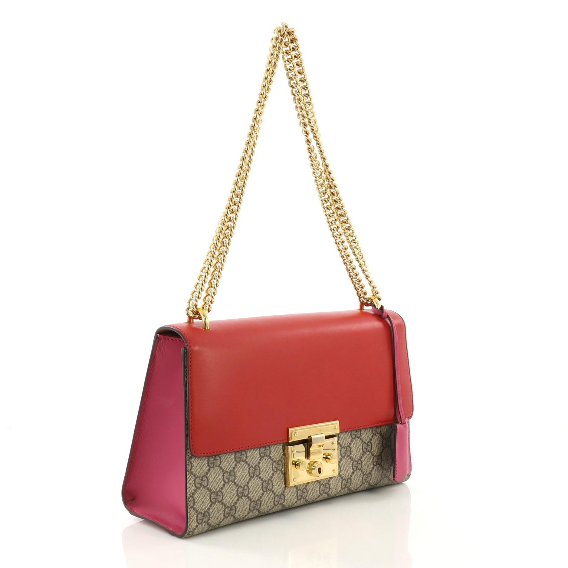 ce11d8405dbe9 Gucci Padlock Shoulder Bag GG Coated Canvas and Leather Medium For Sale at  1stdibs