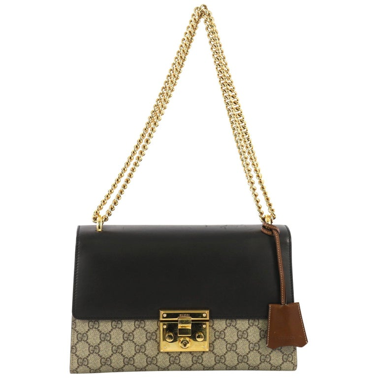 6986c6b0 Gucci Padlock Shoulder Bag GG Coated Canvas and Leather Medium For Sale