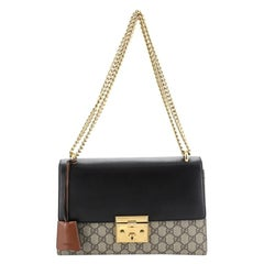 Gucci Padlock Shoulder Bag GG Coated Canvas And Leather Medium