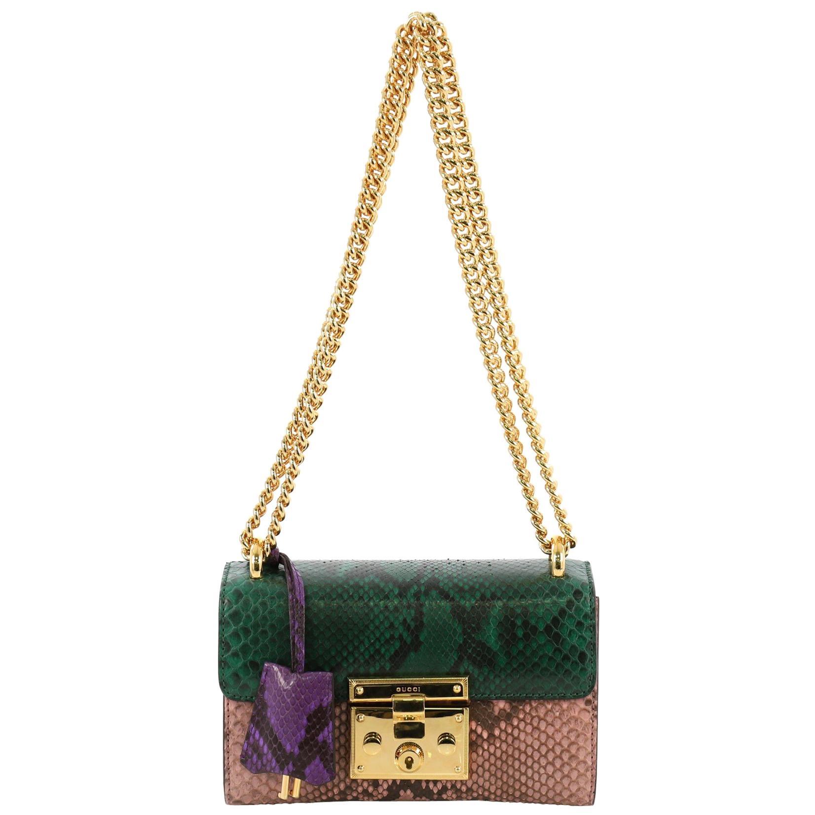 4a23d8b22192 Gucci Padlock Shoulder Bag Python Small at 1stdibs