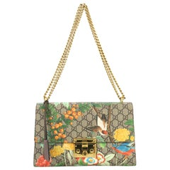 Gucci Padlock Shoulder Bag Tian Print GG Coated Canvas Medium