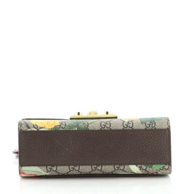 Gucci Padlock Shoulder Bag Tian Print GG Coated Canvas Small In Good Condition For Sale In New York, NY