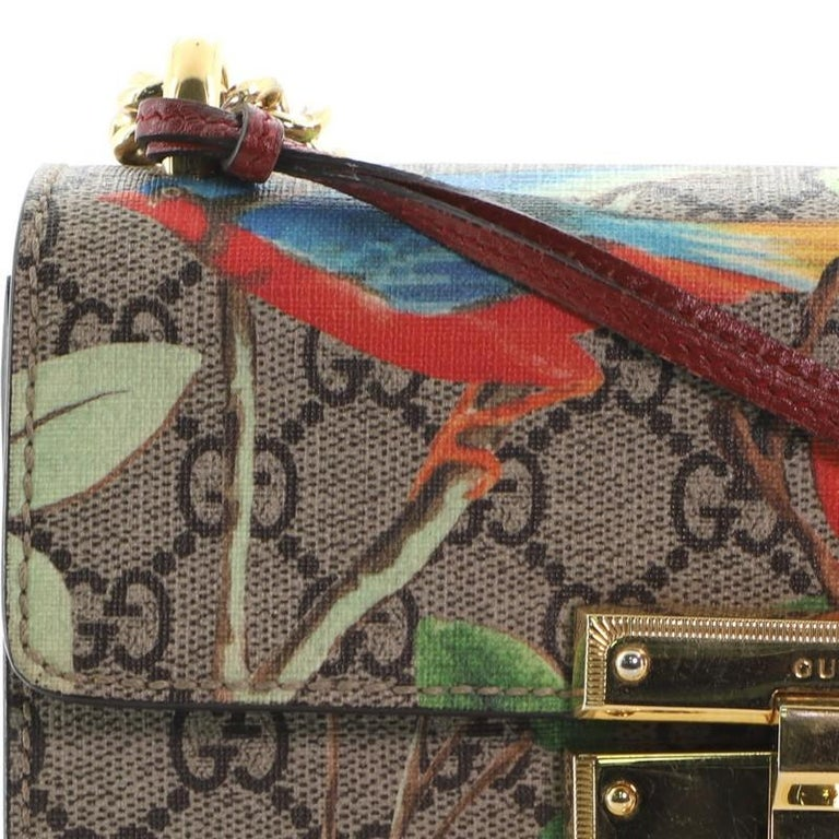 Gucci Padlock Shoulder Bag Tian Print GG Coated Canvas Small For Sale 3