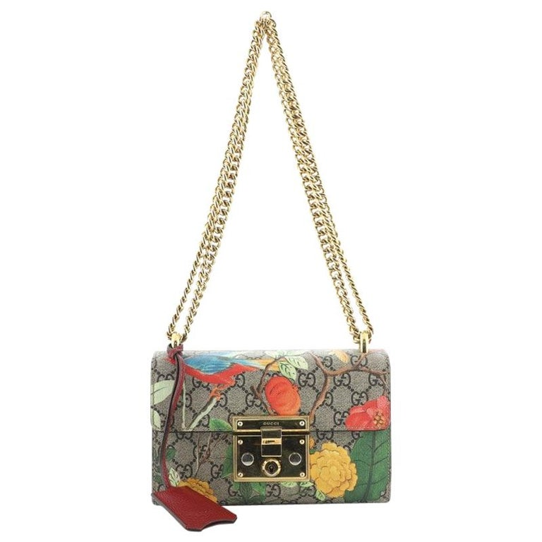 Gucci Padlock Shoulder Bag Tian Print GG Coated Canvas Small For Sale