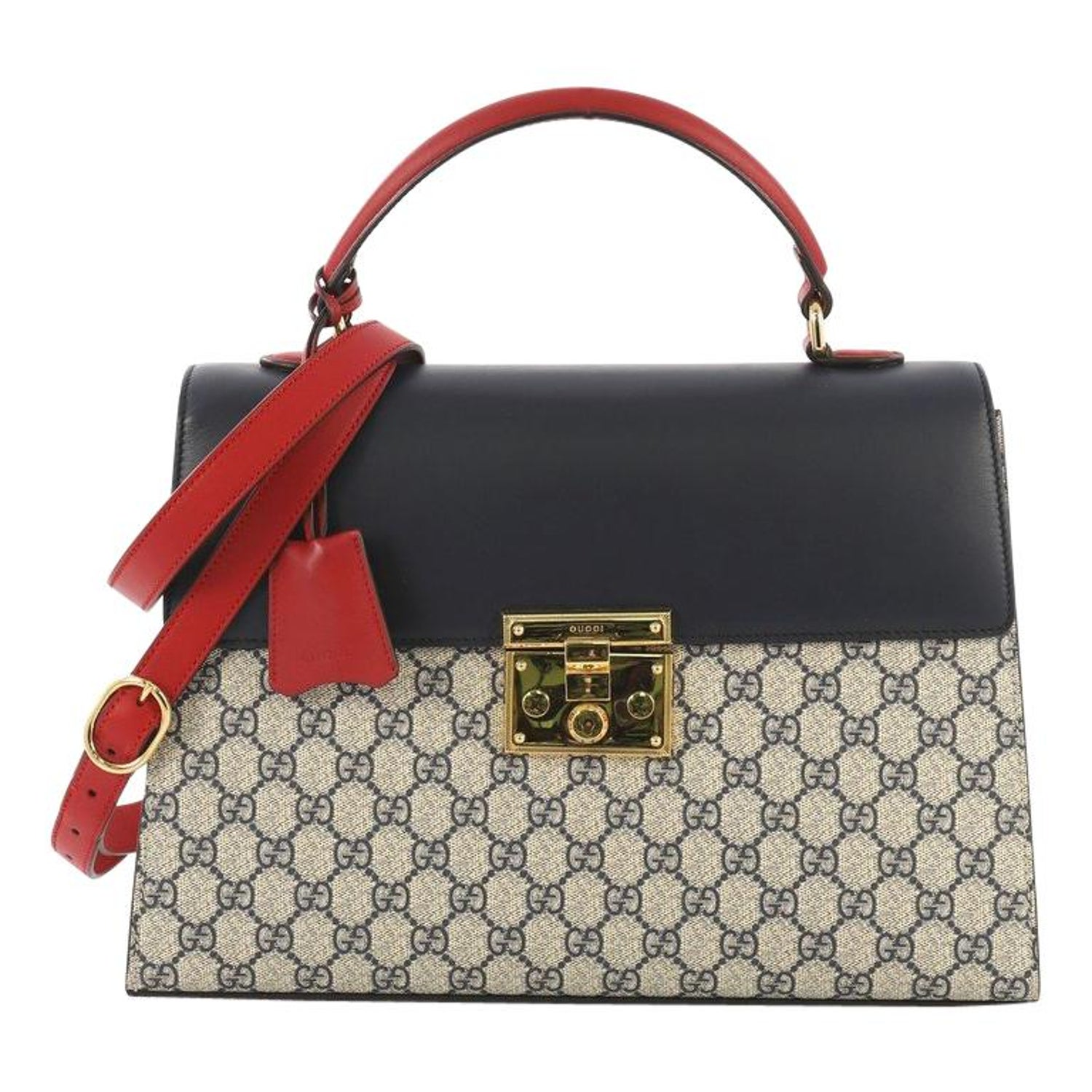 80245fcd8bc Gucci Padlock Top Handle Bag GG Coated Canvas and Leather Medium For Sale  at 1stdibs