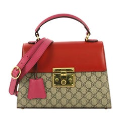 c0d4ee3baed07b Gucci Padlock Top Handle Bag GG Coated Canvas and Leather Small