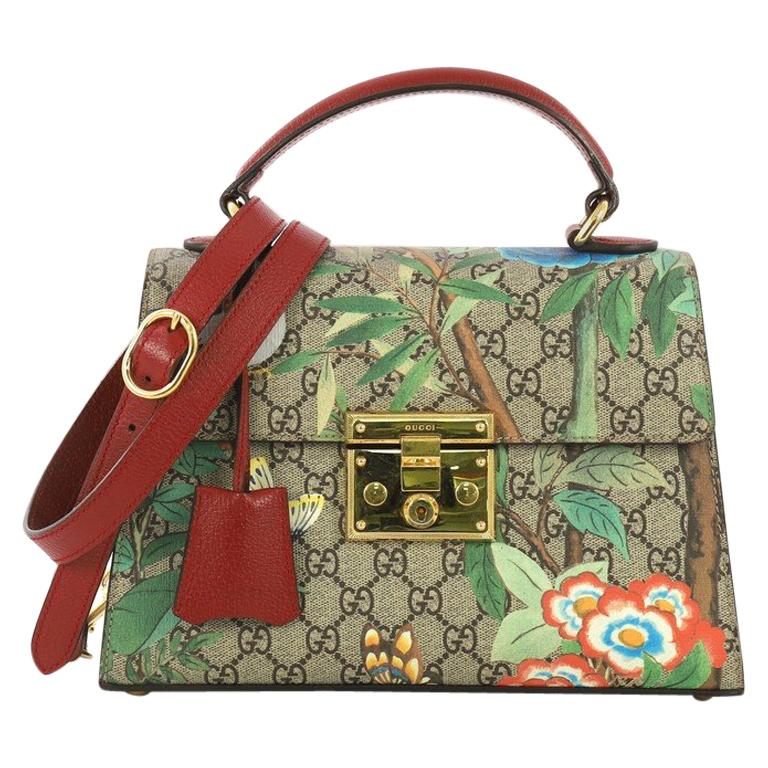 a77f2bf31 Gucci Padlock Top Handle Bag Tian Print GG Coated Canvas Small For Sale