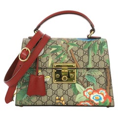 77279ea66b30 Gucci Padlock Top Handle Bag Tian Print GG Coated Canvas Small
