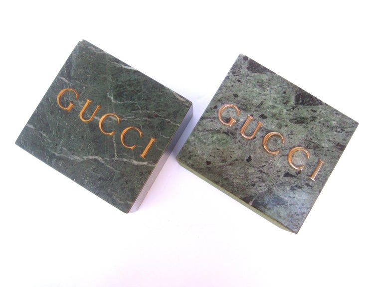 Gucci Pair of Green Marble Stone Bookends / Decorative Objects c 1970s For Sale 5