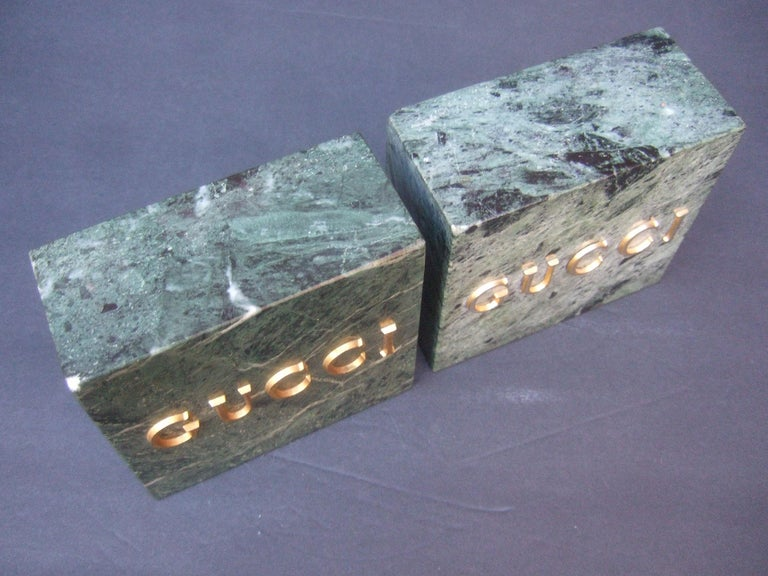 Gucci Pair of Green Marble Stone Bookends / Decorative Objects c 1970s For Sale 6