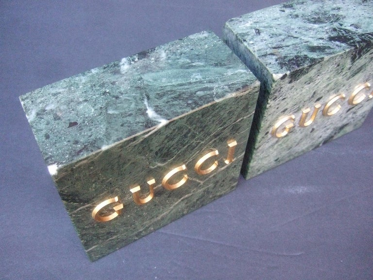 Gucci Pair of Green Marble Stone Bookends / Decorative Objects c 1970s For Sale 7