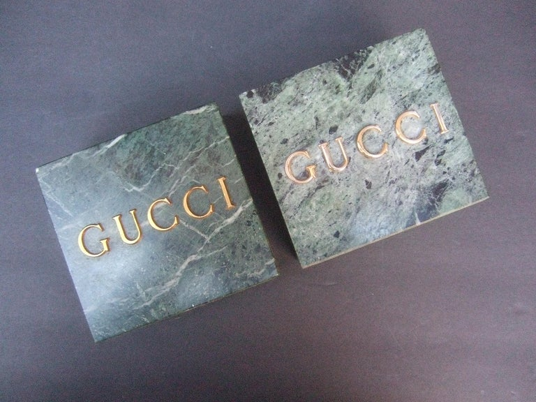 Gray Gucci Pair of Green Marble Stone Bookends / Decorative Objects c 1970s For Sale