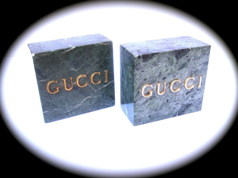 Gucci Pair of Green Marble Stone Bookends / Decorative Objects c 1970s In Good Condition For Sale In Santa Barbara, CA