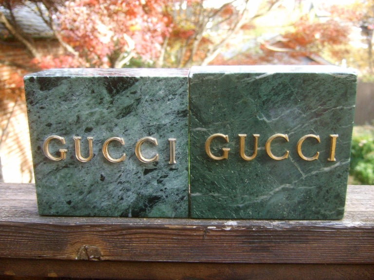 Women's or Men's Gucci Pair of Green Marble Stone Bookends / Decorative Objects c 1970s For Sale