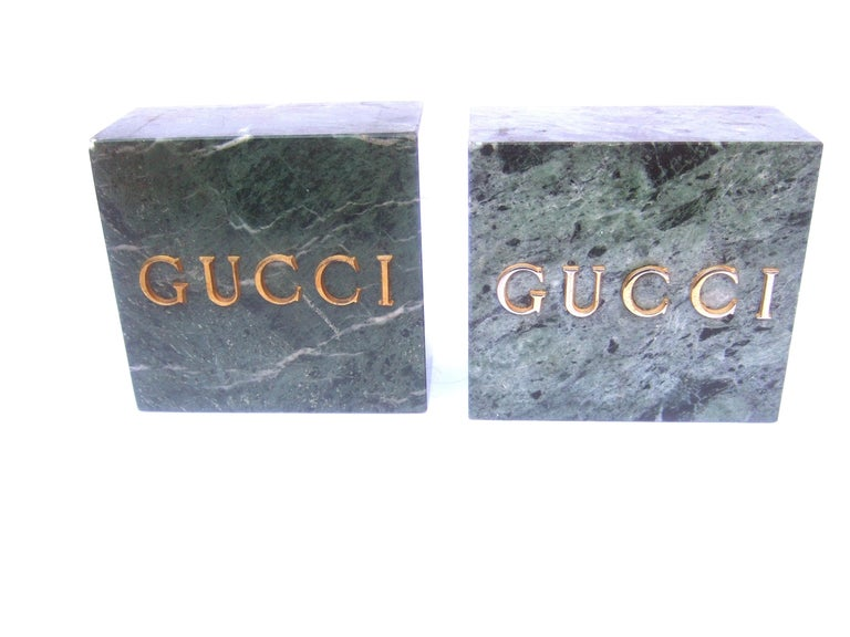 Gucci Pair of Green Marble Stone Bookends / Decorative Objects c 1970s For Sale 1