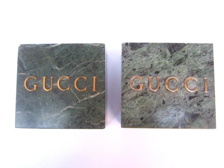 Gucci Pair of Green Marble Stone Bookends / Decorative Objects c 1970s For Sale 2