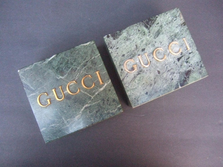 Gucci Pair of Green Marble Stone Bookends / Decorative Objects c 1970s For Sale 3