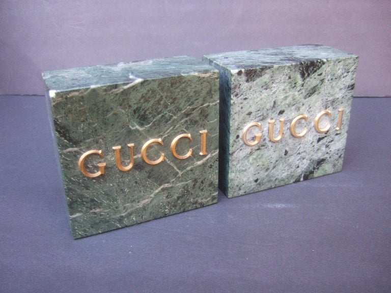 Gucci Pair of Green Marble Stone Bookends / Decorative Objects c 1970s For Sale 4