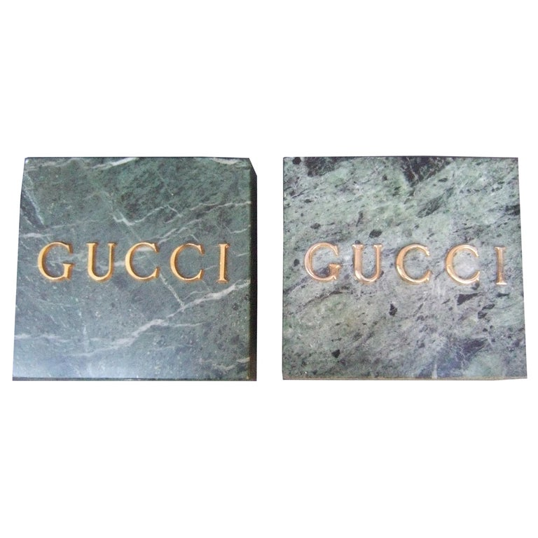 Gucci Pair of Green Marble Stone Bookends / Decorative Objects c 1970s For Sale