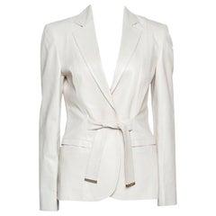 Gucci Pale Beige Leather Tie Front Blazer M