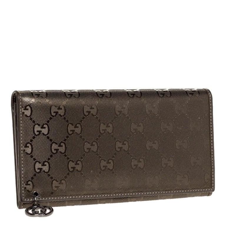 Black Gucci Pale Green Imprime Canvas Interlocking G Continental Wallet For Sale