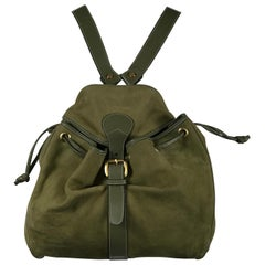 Gucci Pale Moss Green Leather and Suede Backpack