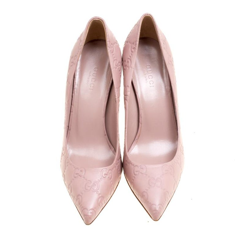 8a0c1796d8a Gucci Pale Pink Guccissima Leather Kristen Bamboo Heel Pumps Size 35.5