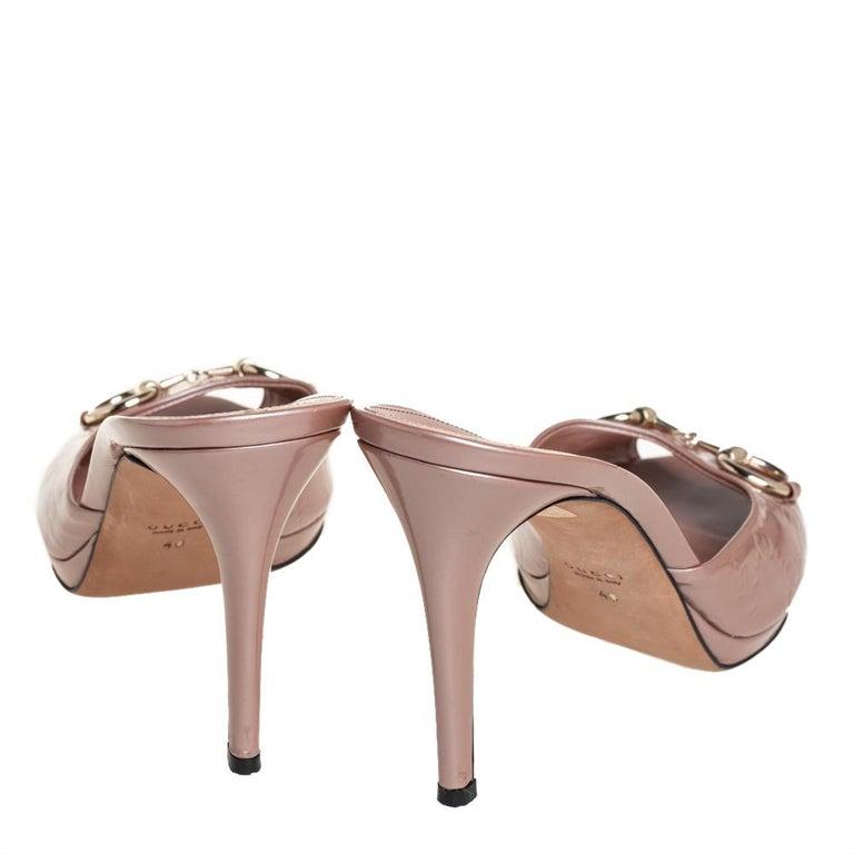 Gucci Pale Pink Guccissima Patent Leather Horsebit Slide Sandals Size 40 For Sale 2