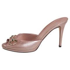 Gucci Pale Pink Guccissima Patent Leather Horsebit Slide Sandals Size 40