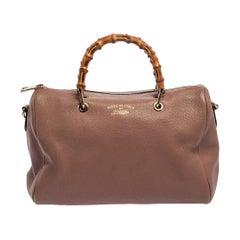 Gucci Pale Pink Leather Medium Bamboo Shopper Boston Bag