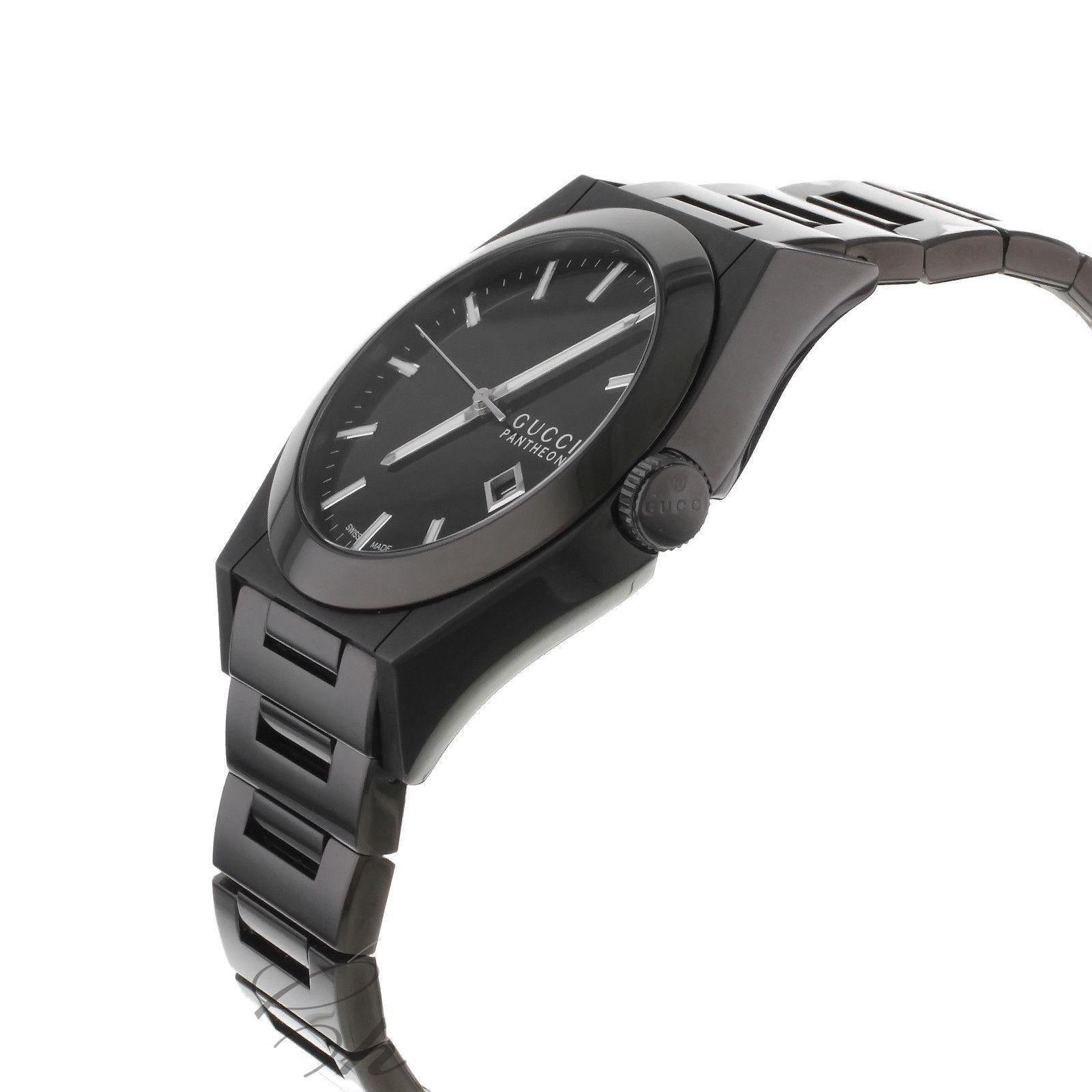 f393211e2d9 Gucci Pantheon 115 YA115244 Black Ion Plated Steel Quartz Men s Watch For  Sale at 1stdibs