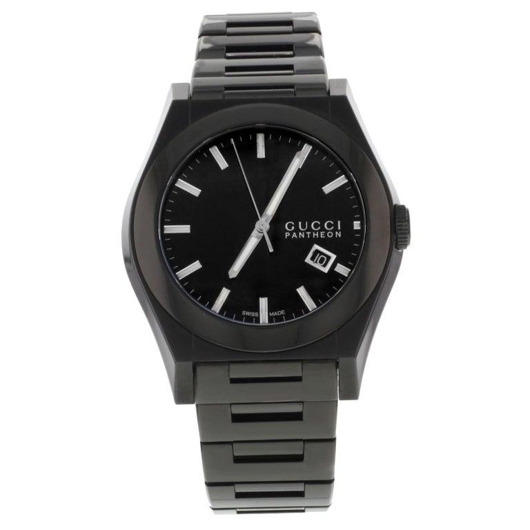 188ca4da35f Gucci Pantheon 115 YA115244 Black Ion Plated Steel Quartz Men s Watch For  Sale