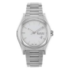 Gucci Pantheon White Sticks Dial Tonneau Steel Quartz Men's Watch YA115210