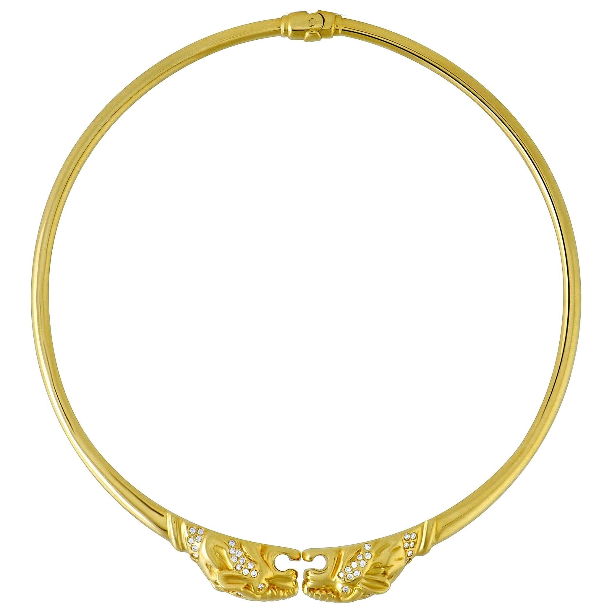Gucci Panthere Diamond Yellow Gold Choker Necklace