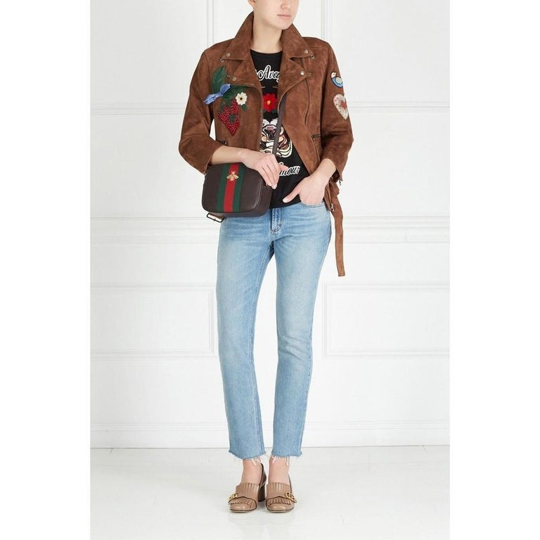 Brown GUCCI Patches Embroidered Suede Jacket  IT42 US 4-6 For Sale