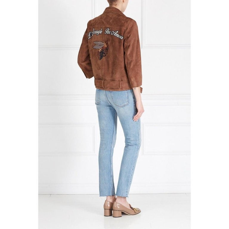 GUCCI Patches Embroidered Suede Jacket  IT42 US 4-6 In New Condition For Sale In Brossard, QC