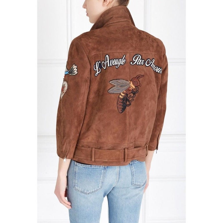 Women's GUCCI Patches Embroidered Suede Jacket  IT42 US 4-6 For Sale