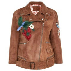 GUCCI Patches Embroidered Suede Jacket  IT42 US 4-6