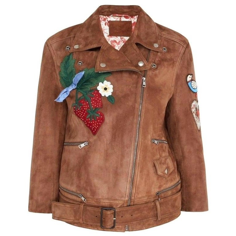 GUCCI Patches Embroidered Suede Jacket  IT42 US 4-6 For Sale