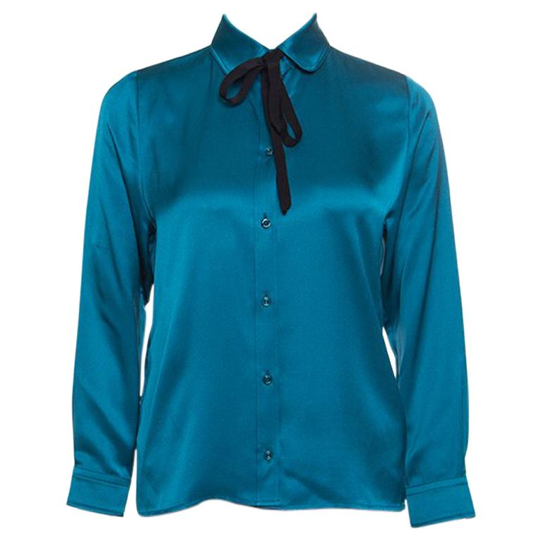 a3d69dbeea36e1 Gucci Peacock Blue Silk Satin Ribbon Tie Detail Long Sleeve Shirt S For Sale