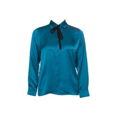 Gucci Peacock Blue Silk Satin Ribbon Tie Detail Long Sleeve Shirt S