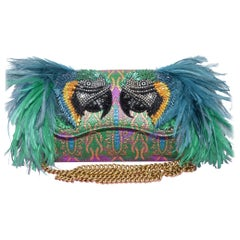 Gucci Macaw Brocade Clutch with Feathers