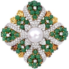 Gucci Pearl and Emerald Brooch/Pendant
