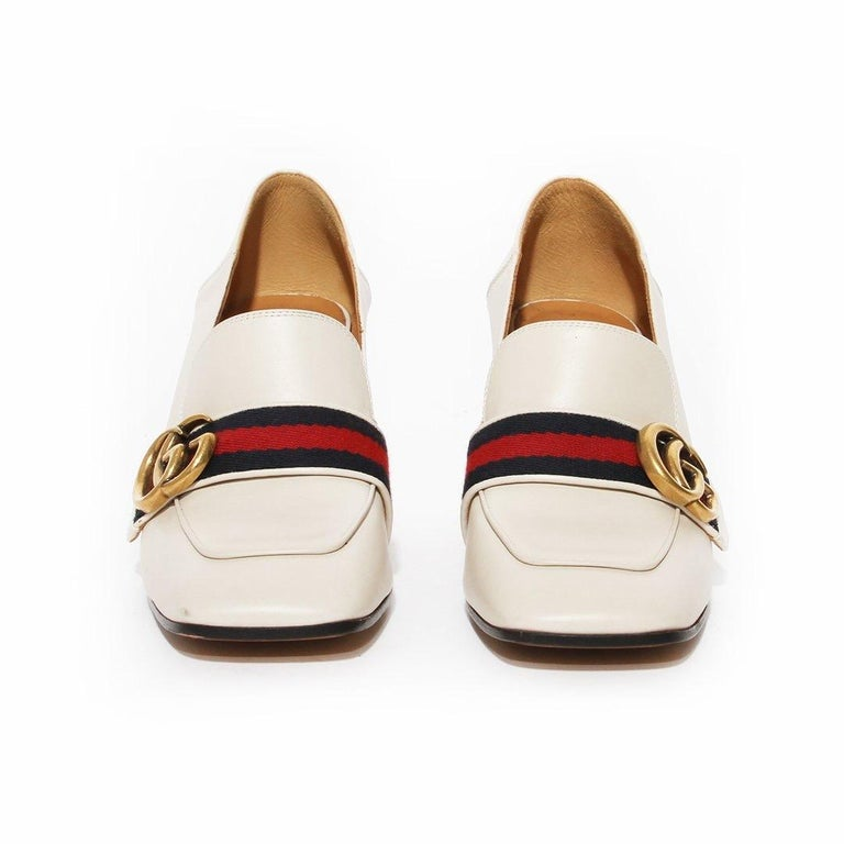 Beige Gucci Pearl Heel Loafer SS2016 For Sale