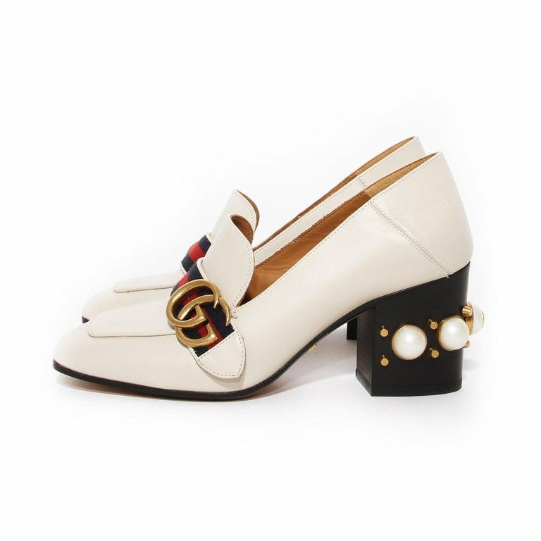Gucci Pearl Heel Loafer SS2016 In Good Condition For Sale In Los Angeles, CA