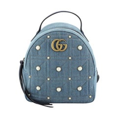 Gucci Pearly GG Marmont Backpack Embellished Matelasse Denim Small
