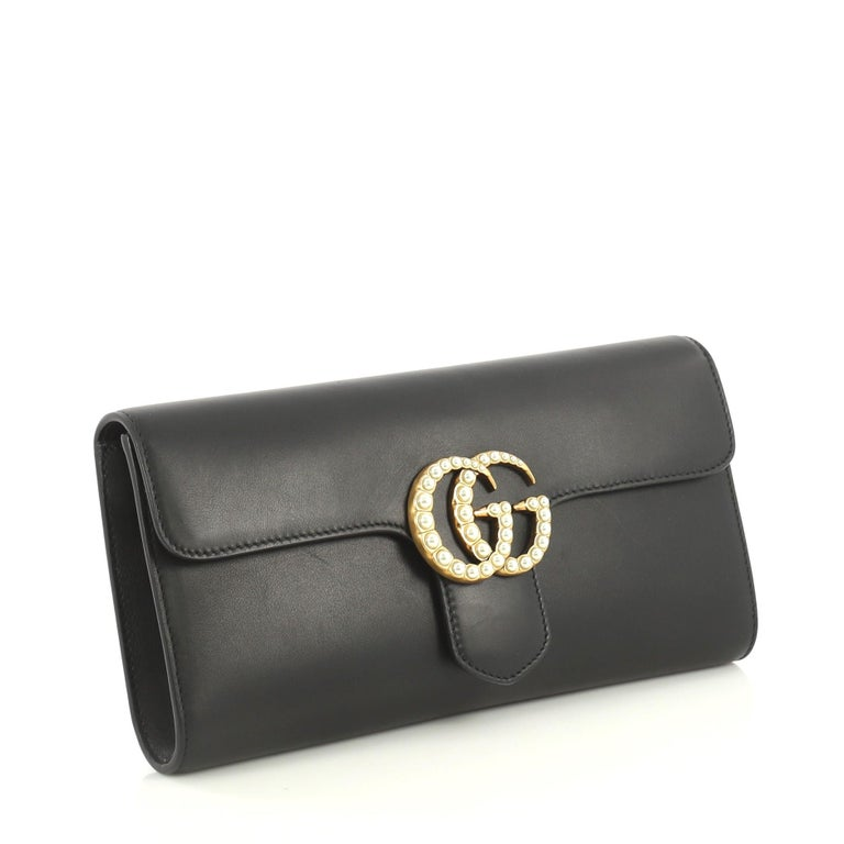 Black Gucci Pearly GG Marmont Clutch Leather For Sale