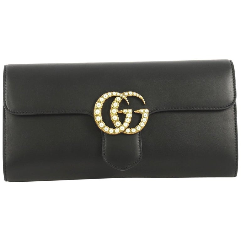 Gucci Pearly GG Marmont Clutch Leather For Sale
