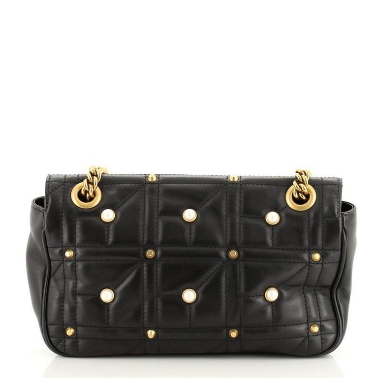 Black Gucci Pearly GG Marmont Flap Bag Embellished Matelasse Leather Small For Sale