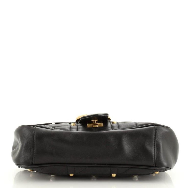 Gucci Pearly GG Marmont Flap Bag Embellished Matelasse Leather Small In Good Condition For Sale In New York, NY
